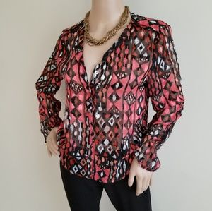 RUBY RD METALLIC PRINT SHEER BLOUSE SIZE 6P